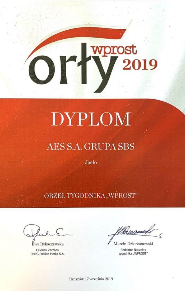 AES S.A. Grupa SBS laureatem nagrody Orły Wprost 2019