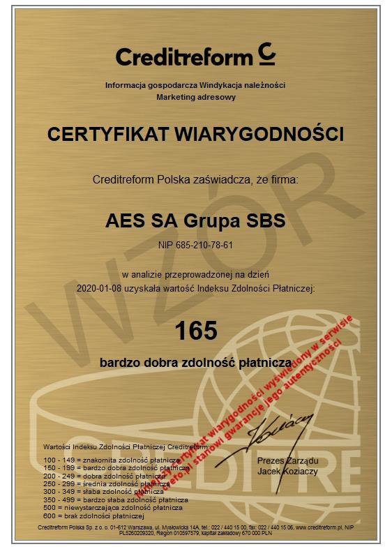 Certyfikat Wiarygodności dla firmy AES S.A. Grupa SBS